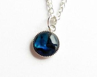 Petite Blue Abalone Necklace, Paua Shell Necklace, Sea Shell Jewellery