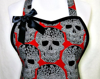 Apron SKULLS Galore, Red & BLACK, SEXY Goth Emo, Pretty Party Hostess Kitchen Gift