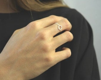 Circle Silver Ring- Chain Ring- Silver Chain Ring- minimalist ring