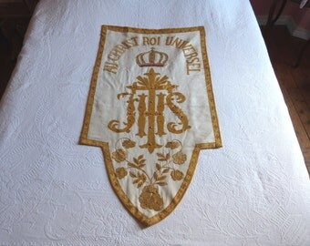 Antique French religious banner IHS embroidery w beaded crown hand embroidered processional banner w gold metallic trim, beads, church decor
