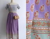 Vintage Indian Cotton 'Buta' Woodblock Print Paisley Midi Skirt S M L