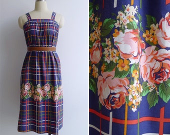 15% SALE (Code In Shop) - Vintage 80's 'I Never Promised You A Rose Garden' Cotton Pinafore Dress Xxs or Xs