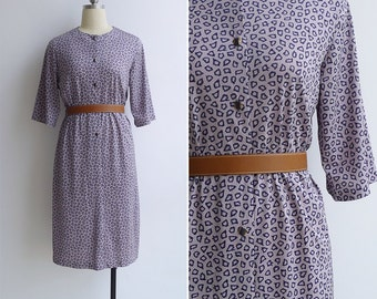 10-25% OFF Code In Shop - Vintage 80's 'Wild Child' Abstract Animal Print Day Dress M or L