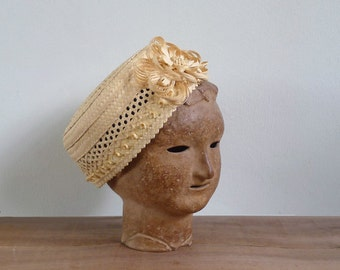 15% SALE (Code In Shop) - Vintage 50's 'Ladies Who Lunch' Straw Woven Pillbox Floral Hat