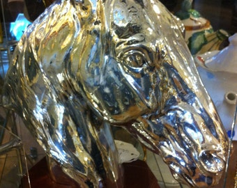 Horse Head Sculpture,Silver Hand Rubbed over Wax Mold,REDUCED PRICE