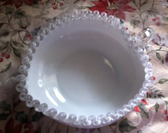 Fenton Silver Crest Milk Glass Heart Shaped Bowl With Crystal Loop Handle