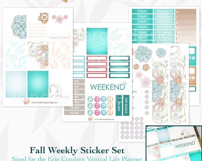 Fall Set 1- Weekly Planner Sticker Kit for Erin Condren Life Planner or The MAMBI Happy Planner