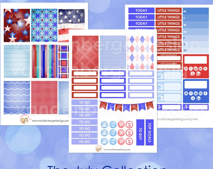 The July Collection- Weekly Planner Sticker Kit for Erin Condren Life Planner or The MAMBI Happy Planner