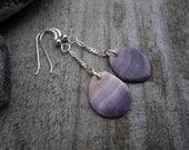 Wampum Earrings - Beach Combed Purple Quahog Shell 23 - Hand Polished Suckáuhock