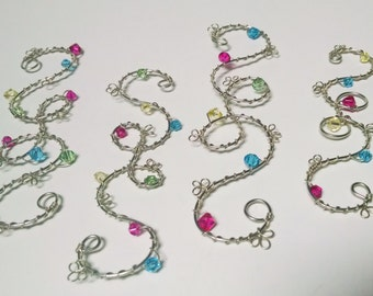 Silver tone Wire Sun Catchers, Crystal Beads, Bright Spring Colors, Swirl Design