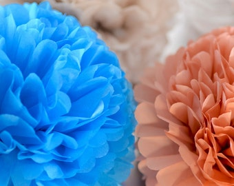 "4 large 14"" / 37 cm tissue paper Pom Poms  -   multi colors - weddings party decorations"