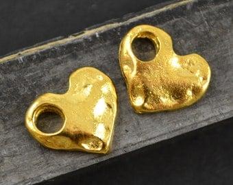 4 Heart Dangle - 24 Karat Gold - Large Hole - Carved Gold Heart Charm - 17x15mm