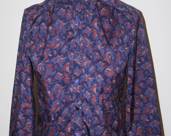 70s 80s Stranger Barb Blouse Top High Neck Blue Red Paisley Things, Long Sleeves Size M Medium