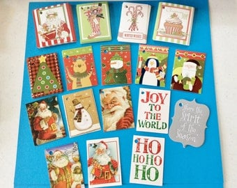 72 Christmas Tags, Assorted, Holes, Red Ribbon,