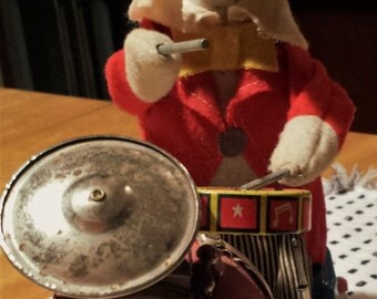 Charlie the Clown, 1950's, Japan, Cragstan/ALPS Mechanical Toy, Light Up Nose, Can he Drum his way into your heart?