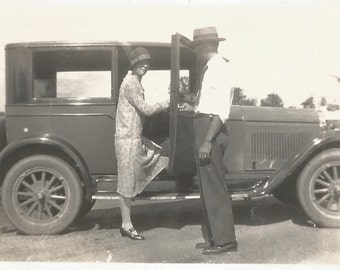 "Vintage Photo ""Good Manners"" Polite Gentleman Holds Car Door For Flapper - 1920's Snapshot - Ford Model A - Antique Photo - Paper Ephemera"