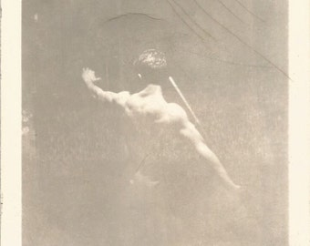 "Vintage Snapshot ""Greek God"" Well-Sculpted Man Prepares For Javelin Throw -  Black & White Found Vernacular Fine Art Photography"
