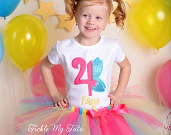 """Fairy Birthday Tutu Outfit-Fairy Wings Birthday Number Tutu Outfit-Butterfly Birthday Tutu Set-My """"Fairy"""" First Birthday *Bow NOT Included*"""