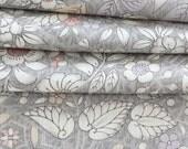 Japanese Kimono Silk Fabric, Tsumugi Silk, Grey Fabric, Cherry Blossom Fabric, Pastel Floral Fabric
