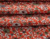 Japanese Kimono, Silk Chirimen Crepe, Floral Fabric, Floral Kimono Fabric, Red Fabric