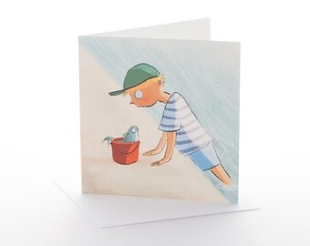 "Greetings card: ""The Boy and the Bucket"" Size 148x148mm with envelope"