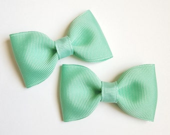 mint green tuxedo bows - 2.5 inch hair accessories for baby toddler big girls tweens teens and moms, to