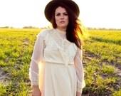 RESERVED ---- Dreamy White Crochet / Lace Feux Pearl Dress Medium - Boho Wedding Gown Gypsy Victorian Edwardian Hippie Wedding Dress