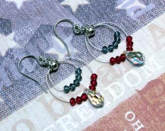 Patriotic Dangle Earrings, Fourth of July Earrings, July 4th Earrings, Red, White and Blue Earrings, Swarovski Earrings, Patriotic Jewelry