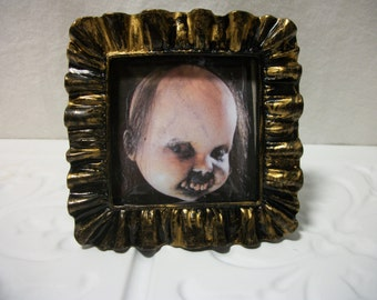 Halloween Prop Framed Creepy Doll Photo Prop Horror Ornament Goth Scary Odd Cabinet of Curiosity Gift