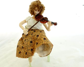 Violin Cloth Art doll playing violin posable wire armature soft doll sculpture unique musician gift