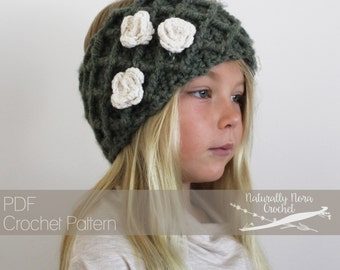 Crochet Pattern: The Olive Two-Way Warmer -Toddler, Child, & Adult Sizes- lattice, rose, chunky, photo tutorial