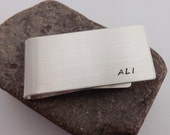 Solid Silver Money Clip with Custom Inscription - Recycled Silver Money Clip with Stamped Inititals