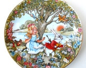 Alice in Wonderland Collector Plate, 1980, Alice and the White Rabbit, limited edition, porcelain