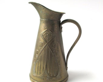 Antique Art Nouveau Solid Brass Pitcher, Joseph Sankey, Sons, JS & S, England, Great Condition