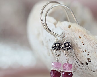 Silver Ruby Earrings - July Birthstone Jewelry - Pink Gemstone Earrings