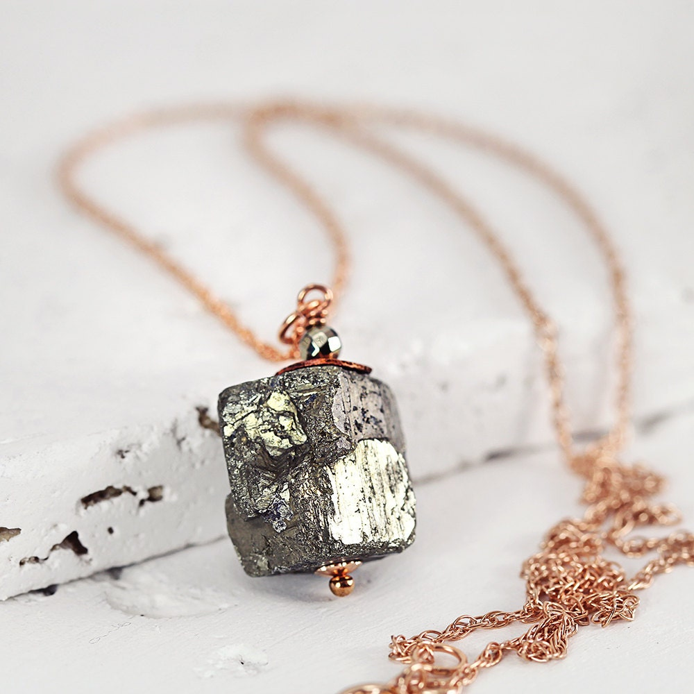 Pyrite Cube Necklace – Raw Stone Necklace – Pyrite Jewelry - Rose Gold Necklace - Modern Pendant Necklace