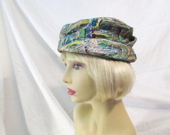 Vintage Brocade Slouch Hat/1950's/Silver Thread