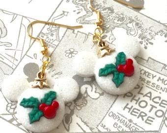 Mickey Christmas Holly Earrings, Mickey Ears, White, Ornaments, Dangle Earrings, , Holiday Jewelry