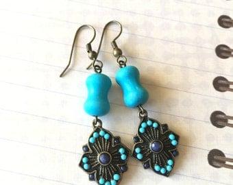 Blue Earrings, Blue Turquoise, Magnesite, Southwestern, Long, Blue Cross, Antique Gold, Dangle, Metal