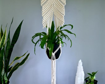 """Macrame Plant Hanger - 60"""" Knotted Natural White Cotton Rope 16"""" Wooden Dowel - Modern Indoor Hanging Planter - READY TO SHIP"""