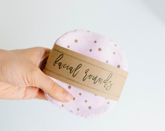 """Facial Rounds  Face Cloth - Make-up Remover - Facial Rounds - 4"""" Face Wipes - Choose your quantity -- Pink Polka Dots"""