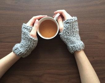 Chunky Knit Wrist Warmers, Fingerless Gloves | Soft Grey | Vegan Yarn