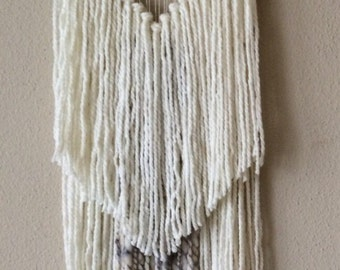 Boho Yarn Wall Hanging, Tree Branch Neutral Earthy Long Hippie Woven Tapestry OOAK (Made-To-Order