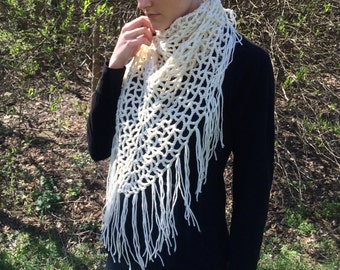 Cream Lacy Triangle Fringe Scarf / Lightweight Spring Triangle Shawl Scarf / White Airy Blanket Scarf / Vegan Yarn