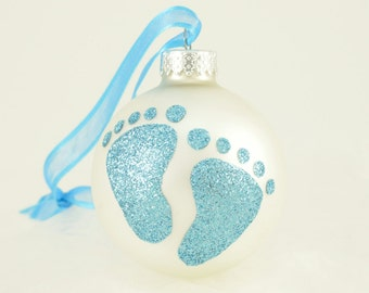 Baby Boy Shower and Gender Reveal Glitter Personalized Ornament - Blue Baby Feet Footprint - Keepsake Unique Glass Ball Bauble
