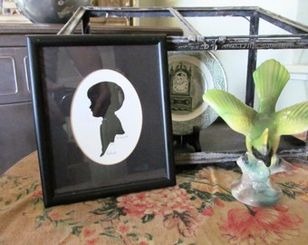 Silhouette of a Boy Named Robert // framed picture // collectible art