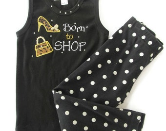 Black Tank with BORN TO SHOP with Black and White Polka Dot Leggings  toddler girl, 1-2 years, girl's clothing, Born to Shop outfit, toddler