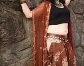 Size M/L Cutout Sari Pantaloons- Iridescent Coppery Brown and Floral Silk Harem Bellydance Pants