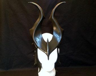 Black Leather Mask Halloween Witch Demon Horns GLOSSY Costume Evil Mistress Headpiece Villian Goth Fantasy Cosplay Comicon Pagan larp devil