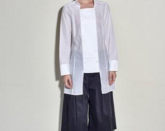 Women White Cotton Shirt - Women Shirt - White Shirt - Long Shirt - Free Shipping